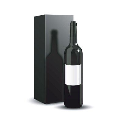 Бутылка вина дизайна упаковки. Роскошная презентация красного вина. Векторная иллюстрация.