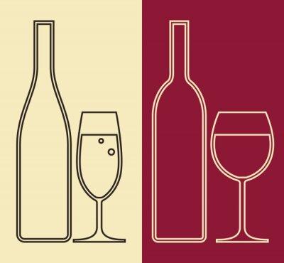Картина Бутылки и стаканы вина и шампанского