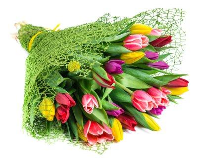 Картина букет из 25 разноцветных тюльпанов, изолированных на белом фоне
