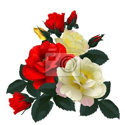 Картина Букет из красных и желтых роз, изолированных на белом