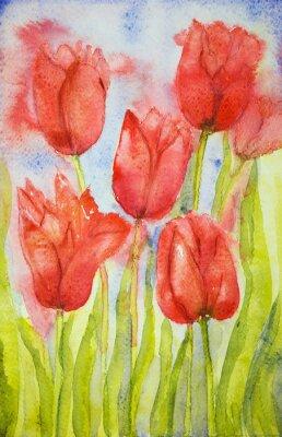 Картина Букет тюльпанов в поле. Техника прикладывая вблизи краев дает эффект мягкой фокусировки благодаря измененному шероховатости поверхности бумаги.