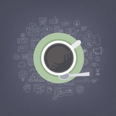 Картина Мозговой штурм идеи с кофе иллюстрации