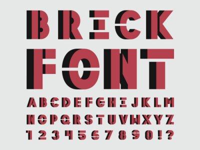 Brick font. Vector alphabet