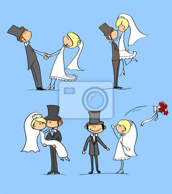 Жених и невеста на свадьбе, векторru