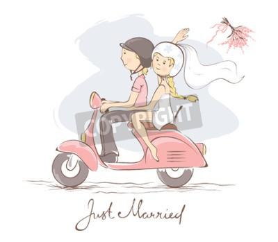 Картина Жених и невеста на скутере / Векторная иллюстрация, открытка, невеста бросает букет