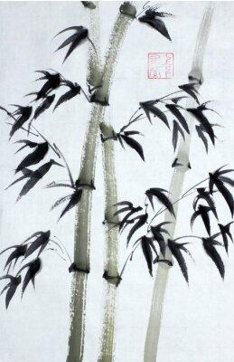 Картина Яркие бамбуковые деревья