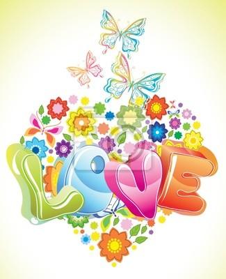 Bright Valentine floral background
