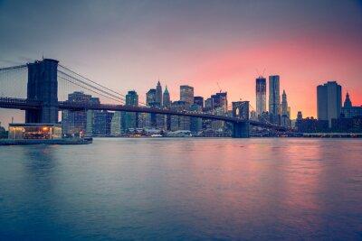 Картина Бруклинский мост и Манхэттен в сумерках