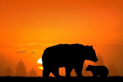 Картина бурый медведь и медвежонок в лесу