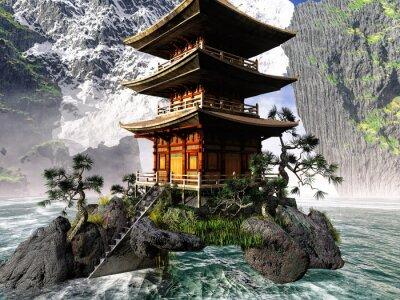 Картина Буддийский храм в Скалистых горах