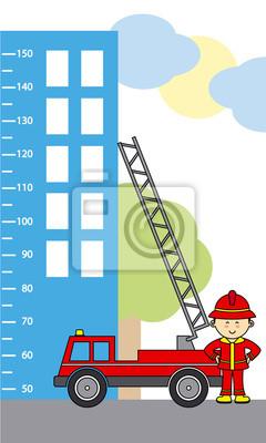 Бампер дети метр стены. пожарная машина