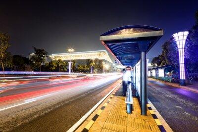 Картина Автовокзал рядом с дорогой на ночь