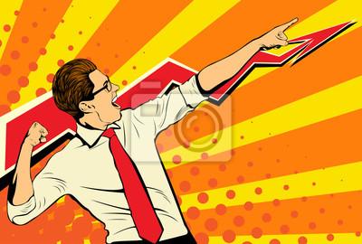 Бизнес-успех бизнесмен, показывая верхней части диаграммы и кричать от радости. Ретро стиль поп-арт. Белый взрослый мужчина Кавказа