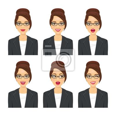 Деловая женщина лицо. Различные выражения множество. Вектор мультфильм значок аватара набор на белом фоне.