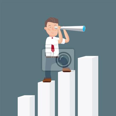 Бизнесмен стоять на вершине подъема диаграммы с помощью телескопа, глядя на успех, возможностей будущих тенденций развития бизнеса. Видение концепции. Мультфильм векторные иллюстрации. Плоский дизайн.