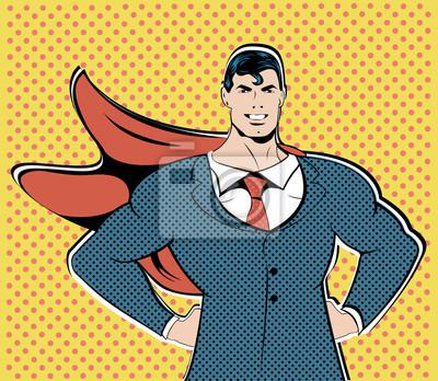 Бизнесмен супергероя работа полета бизнес-концепция ретро-стиле поп-арт. Взрослый человек в деловом костюме. Образ мужества и отваги. Ретро стиль поп-арт. концепция Финансы