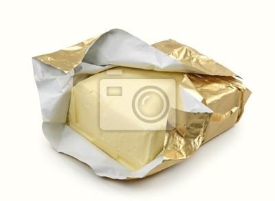 Масло в золотой фольги, изолированных на белом фоне