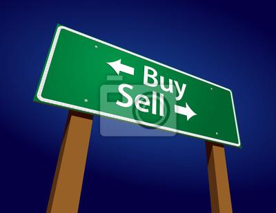 Покупка, продажа зеленый дорожный знак векторные иллюстрации