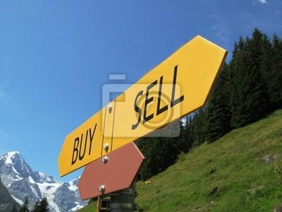 Купля-Продажа знак против альпийских пейзажей