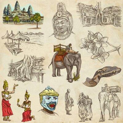 Картина Камбоджа - An рисованной иллюстрации. Frehand пакет.