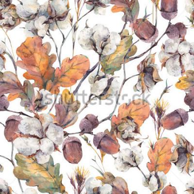 Картина Акварель осенью урожай фон с веточками, хлопковый цветок, желтые листья дуба и желудей. Ботанические акварели иллюстрации бесшовные модели