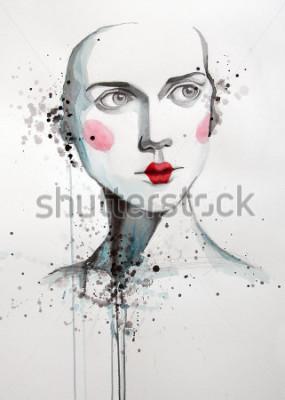 Картина акварельный портрет красивой женщины   ручная работа   самодельные   картина
