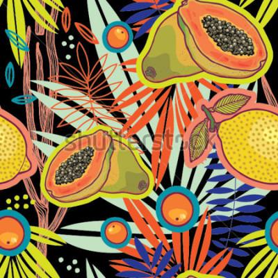 Картина Тропический летний сад ночью векторный узор.
