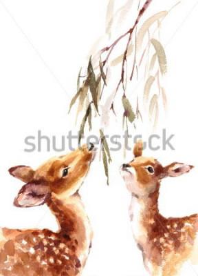 Картина Акварель Два оленя, смотрящие на листья и листья