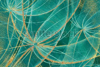 Картина Масляная живопись текстурированный фон абстрактные одуванчики цветы с золотыми полосками и пятнами