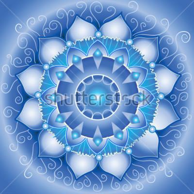Картина абстрактный синий узор, мандала век вишуддхи чакры
