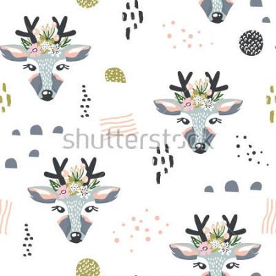 Картина Бесшовные шаблон с оленями, цветочные элементы, ветви. Творческий лесной фон. Идеально подходит для одежды для детей, ткани, текстиля, украшения для детской комнаты, оберточной бумаги.