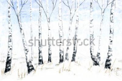 Картина Акварельный акварельный пейзаж. Лесные иллюстрации, зимние деревья. березовый