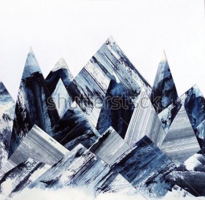 Картина Искусство фона. Текстура чернил на бумаге. Абстрактный горный коллаж