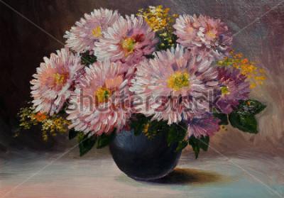 Картина Картина маслом на холсте - цветы натюрморта на столе