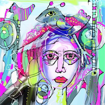 Картина оригинальная абстрактная цифровая живопись человеческого лица, красочная композиция в современном искусстве, идеально подходит для дизайна интерьера, украшения страницы, веб и другие, вект