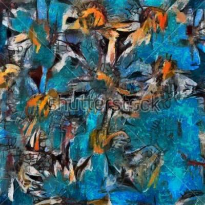 Картина Натюрморт букет ромашек в голубой вазе. Выразительное пастообразное исполнение. Холст, масло с элементами пастельной живописи в современном стиле.