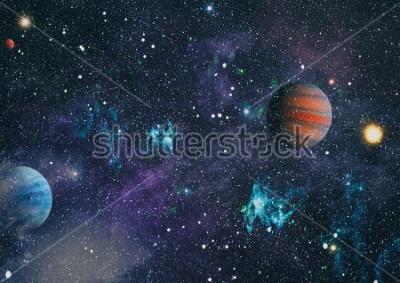 Картина планеты, звезды и галактики в космическом пространстве, демонстрирующие красоту освоения космоса. Элементы, представленные НАСА