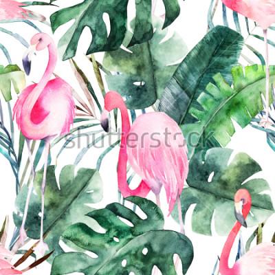 Картина Тропический бесшовный шаблон с фламинго и листьями. Акварель летняя печать. Экзотическая рисованная иллюстрация