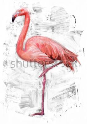 Картина Эскиз птицы-фламинго / масляная окраска