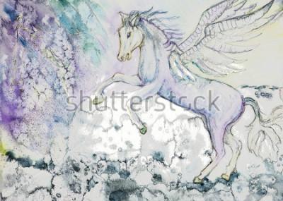 Картина Лошадь с крыльями в штормовую погоду. Метод вытирания вблизи краев дает мягкий фокусный эффект из-за измененной шероховатости поверхности бумаги.