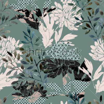 Картина Абстрактный цветочный бесшовные модели. Акварельные цветы, листья заполнены минимальными текстурами каракулей. Естественный фон. Ручная роспись