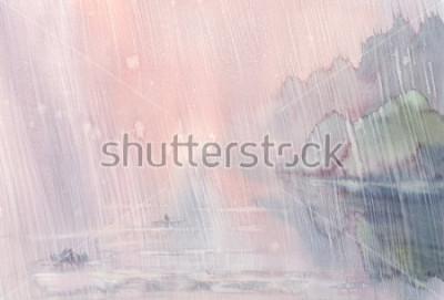 Картина утренний дождь акварельный пейзаж