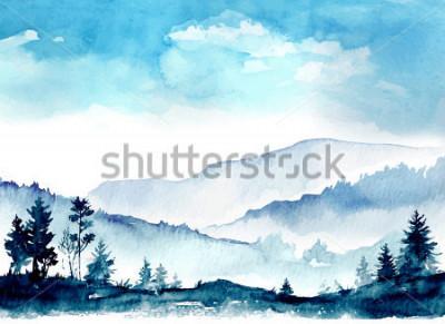 Картина акварельные горы