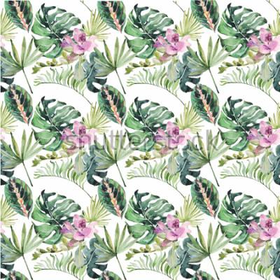 Картина Акварельный орнамент с тропическими цветами и зелеными листьями приглашает на свадьбу, праздник, поздравительные открытки, плакаты, книги, конверты, фотоальбом. Иллюстрация на свободном фоне.