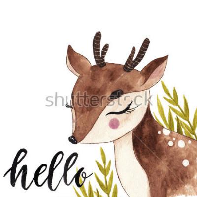 Картина Симпатичный акварельный олень. Открытка с надписью