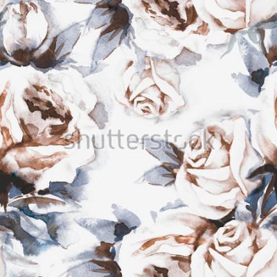 Картина Розы бесшовные шаблон. Акварель иллюстрации.