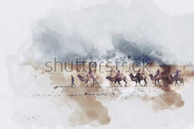 Картина Цифровая акварель, шелковая дорога и песчаная дюна пустыни