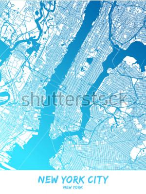 Картина Город Нью-Йорк и его окрестности Карта в синей затененной версии со следующими подробностями. Эта карта Нью-Йорка содержит типичные достопримечательности.