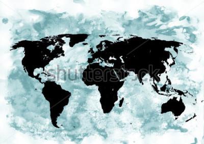 Картина Фон карты мира. Гранж фон. Абстрактное эмоциональное искусство. Современный элемент дизайна.