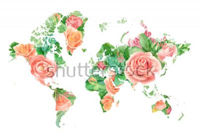Картина Акварель иллюстрации карты мира в цветах. Шаблон для проектов DIY, свадебных приглашений, поздравительных открыток, плакатов, блогов, веб-сайтов
